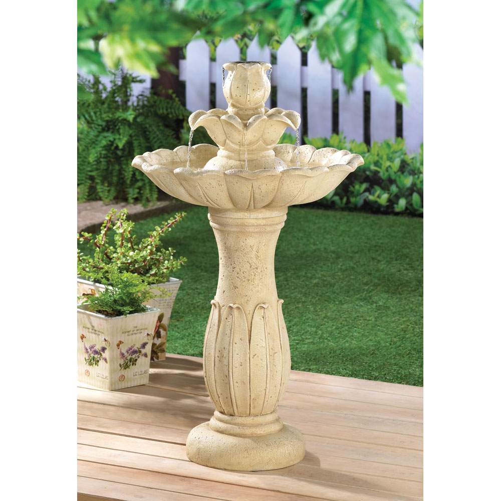 Lotus flower pedestal fountain garden statuary lotus flower pedestal fountain dhlflorist Images