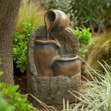 Three Bronze Jugs with  LED