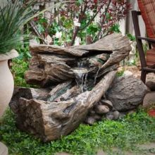 Rainforest Log & Rock Fountain with LED light