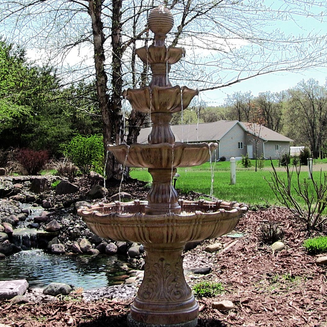 Large tiered outdoor fountain with ball finial fiberglass for Large outdoor fountains