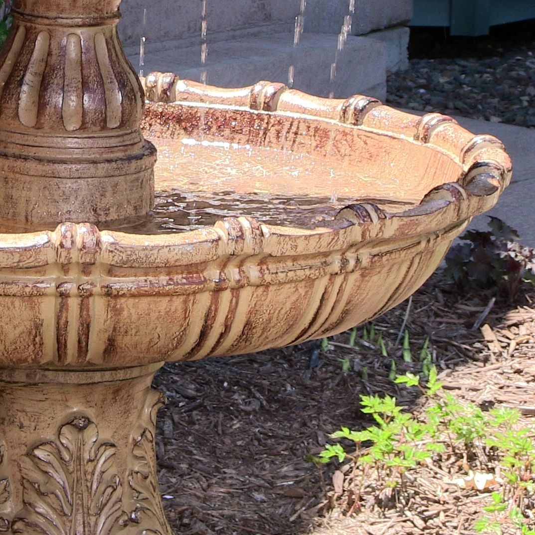 Large Tiered Outdoor Fountain With Ball Finial Fiberglass
