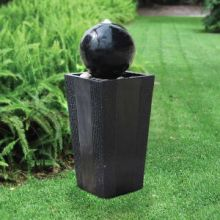 Black Ball on Tall Block Lighted Fountain
