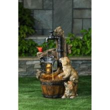 Puppies, Pail & Pump Water Fountain w/ LED Light