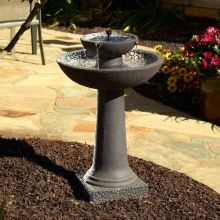 Pebble-Lined Concrete Solar-On-Demand Fountain