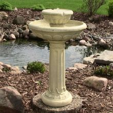 Pedestal Two Tier Solar-On-Demand Bird Bath Fountain