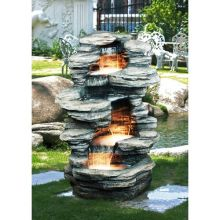Rock Pond 4-Level Fountain with LED Lights