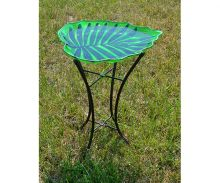 Glass Leaf Bird Bath w/ Stand