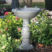 Weathered Stone Solar Fountain & Birdbath