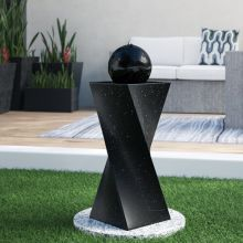 Tipps Spiral Pedestal Solar Black Ball Fountain