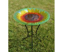 Sunflower Glass Bird Bath w/ Stand