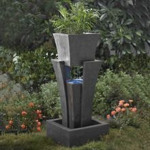 Sculptural Raining Water Fountain with Planter