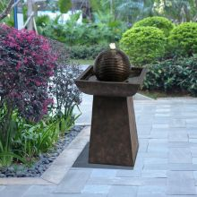 Waterfall Orb Pedestal Fountain w/ LED Light