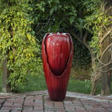 Alpine Jar LED Water Fountain (Color: Red)