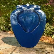 Glazed Jar Fountain with LED Light (Color: Blue)