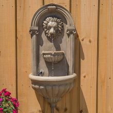 Royal Lion Outdoor LED Wall Fountain (Material: Sandstone)